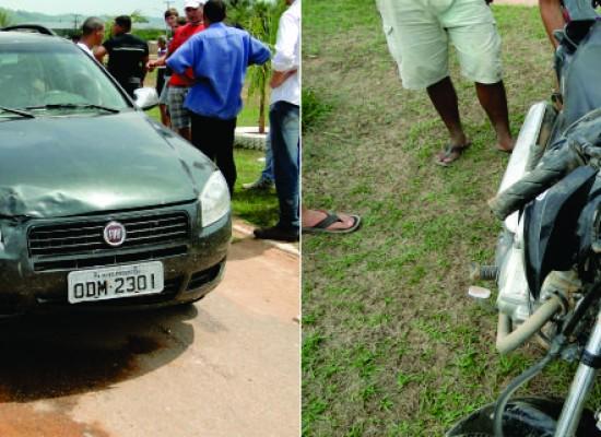 Motoqueiro sofre apenas escoriações em acidente com veículo na BR-163 em Novo Progresso