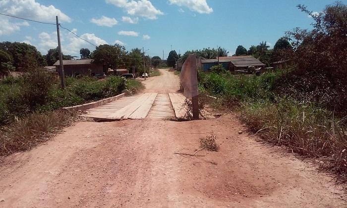 Ponte ameaçava cair em Julho deste ano.(Foto Arquivo Jornal Folha do Progresso)