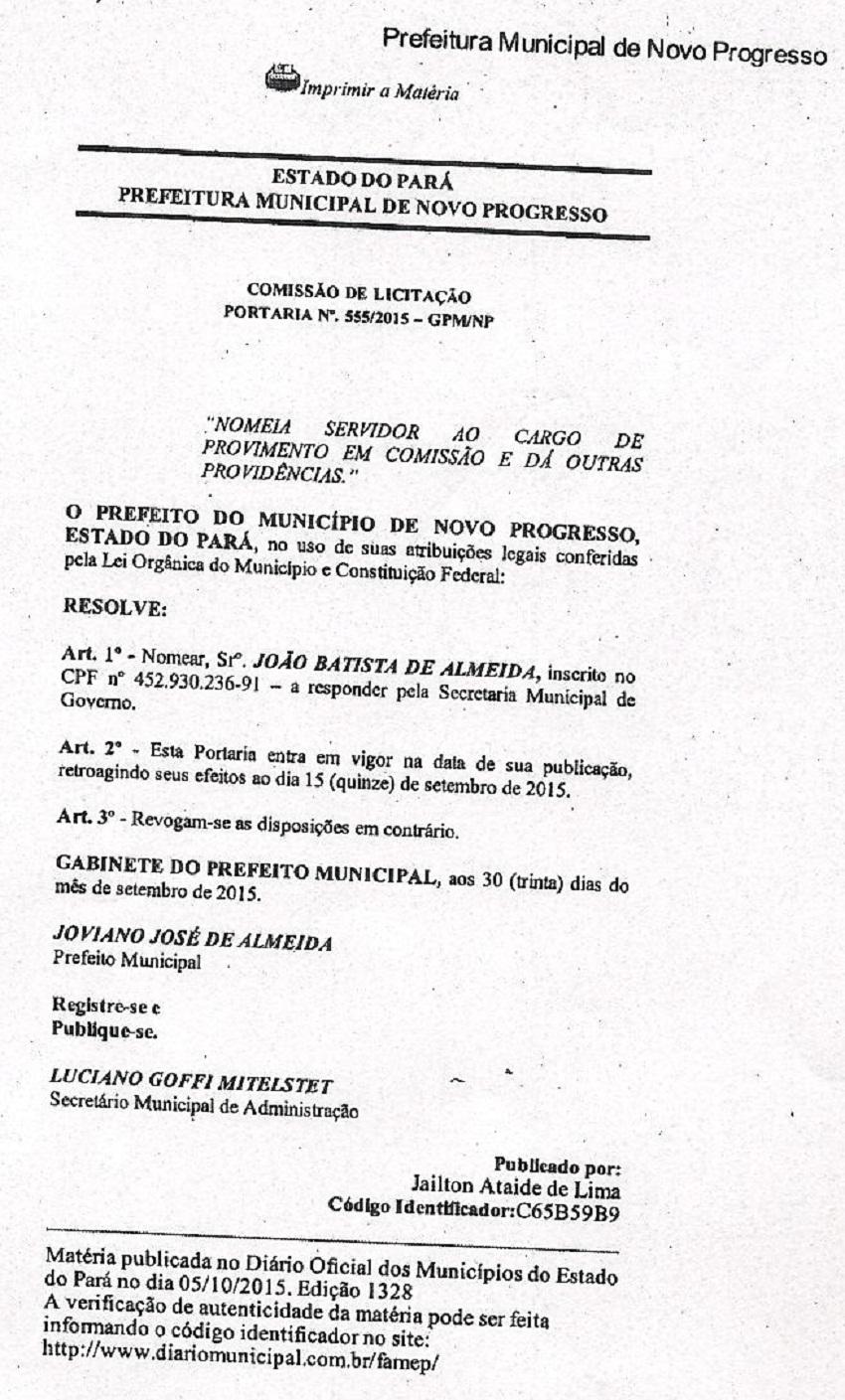 Portaria Assinada pelo Prefeito Joviano (PSL) nomeando João Batista de Almeida Secretario de Governo do Município de Novo Progresso