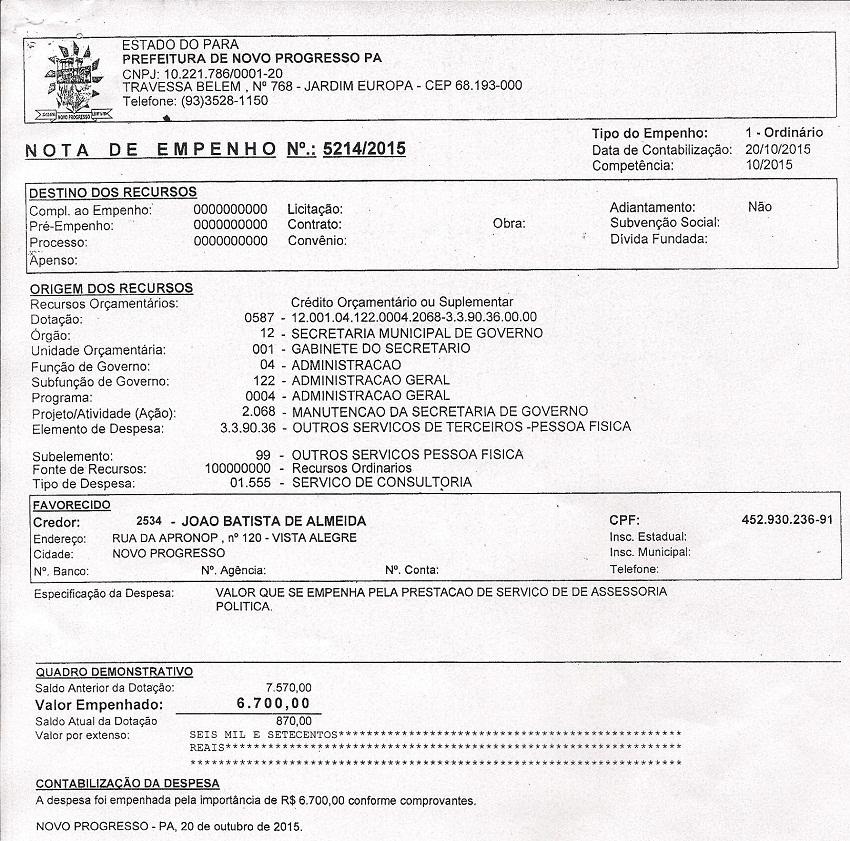 Nota Empenhada em favor do Secretario de Governo João Batista de Almeida