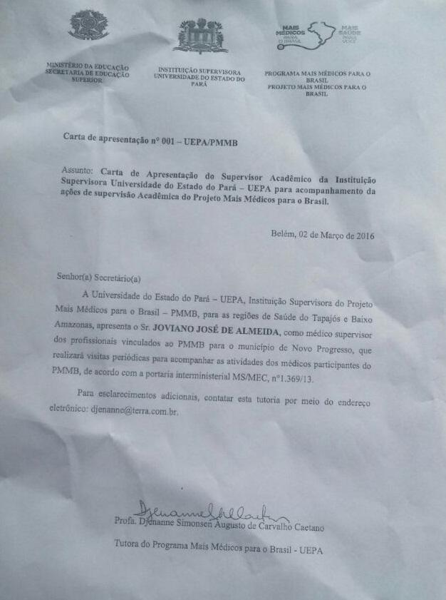 Documento que o Jornal Folha do Progresso teve acesso - indica Joviano para chefe dos Mais Médicos.