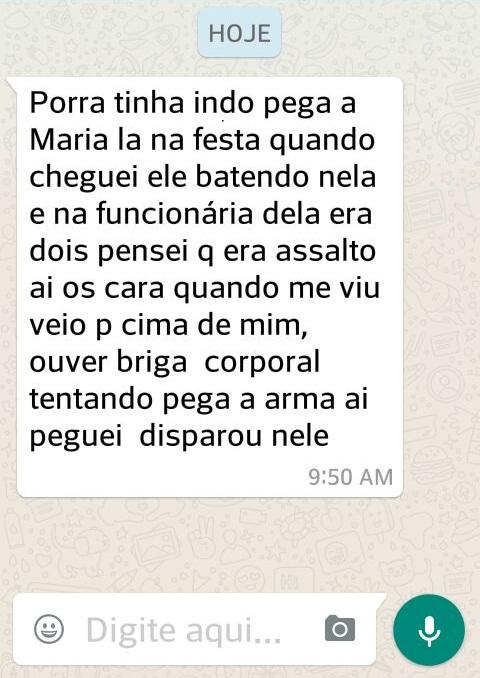 Texto enviado pelo WhatsApp pelo policia que atirou em Leandro.