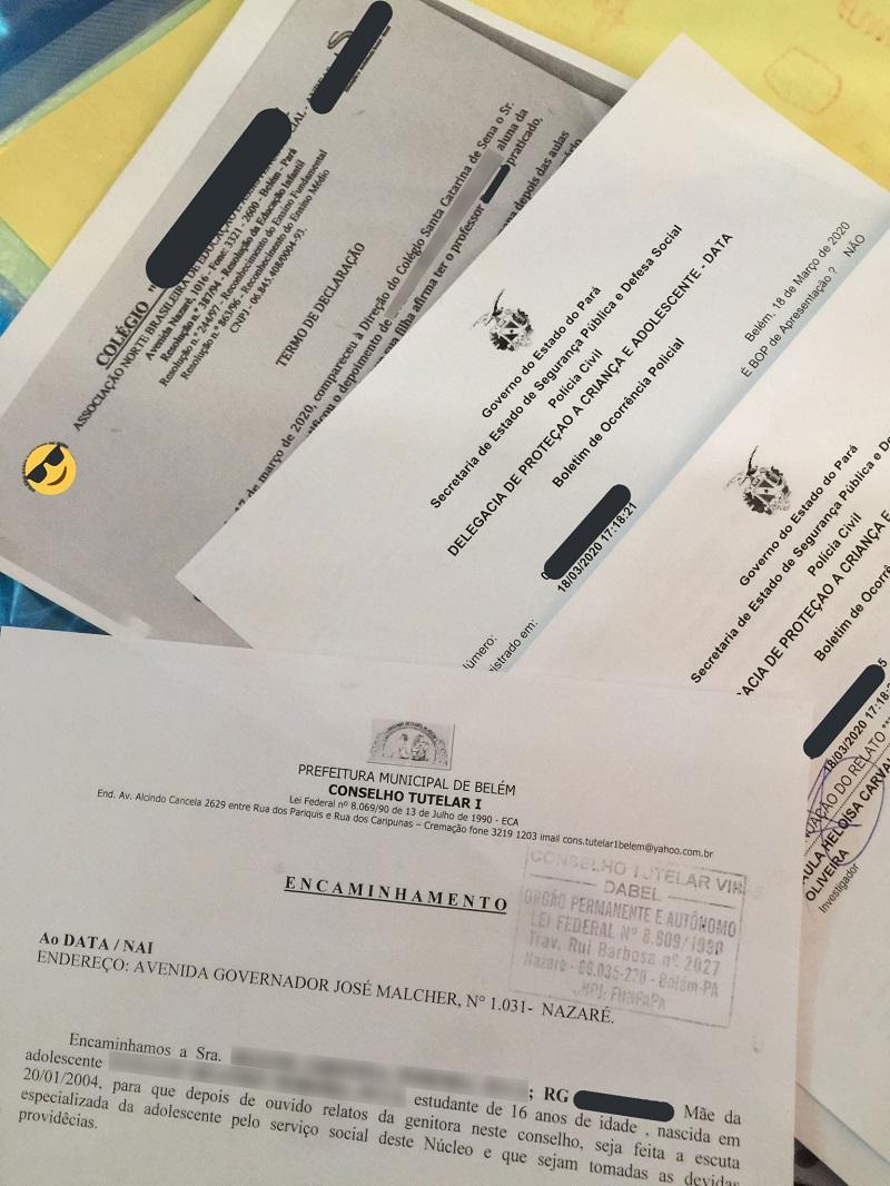 Documentos divulgados pela adolescente, entre eles dois boletins de ocorrência registrados na DATA. Reprodução/Redes Sociais